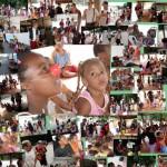 """Montagem com as fotos das ações """"Alívio da Tristeza"""" e """"Floreira"""": os palhaços do grupo Cia. de Quintal levaram o sorriso da esperança para a população de Santa Rita"""