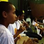 Apresentação musical na inauguração - 9ª Sinfonia de Bethoveen com pandeiro, flautas doce, violino e violão